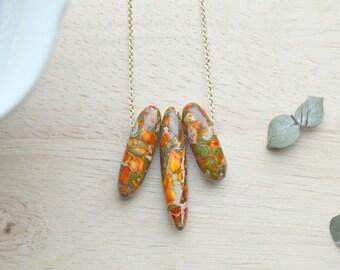Orange Jasper Spear Necklace, Burnt Orange, Green, and Red  Boho Jewelry