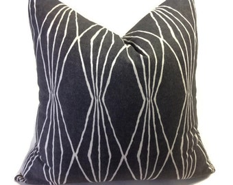 Black Pillow, Decorative Throw Pillow Cover Robert Allen Pillow, Printed Fabric on both sides