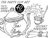 Tea Party Doodle Clip Art, Clipart, Digital Images, PNG, 300dpi, Hand Drawn, Invitations Design Kit, Commercial Use OK, Instant Download