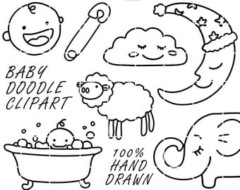64 Hand Drawn Baby Lineart Clip Art, Clipart, Instant Download, PNG, Sketched, Doodled, Doodle, Nedti, Baby Shower Photo Overlays, Printable