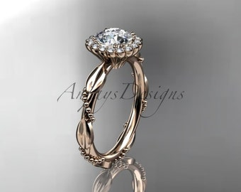 14kt rose gold diamond leaf and vine wedding ring, engagement ring ADLR337