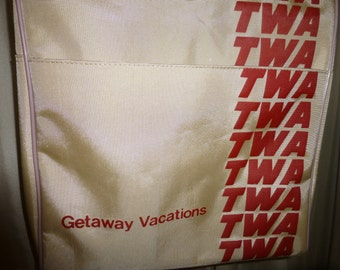 TWA airline travel bag Vintage in excellent condition stewardess carry on suitcase Trans World Airlines on sale now!