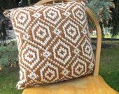 Hazelnut and Cream Hand Knit Pillow 20x20