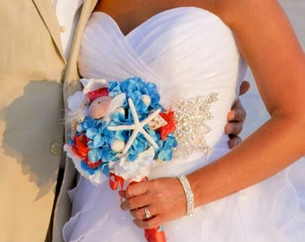 Beach Wedding Bouquet- Hydrangea, Starfish and Seashell Bridal Bouquet- Customized To Your Colors- SOLD