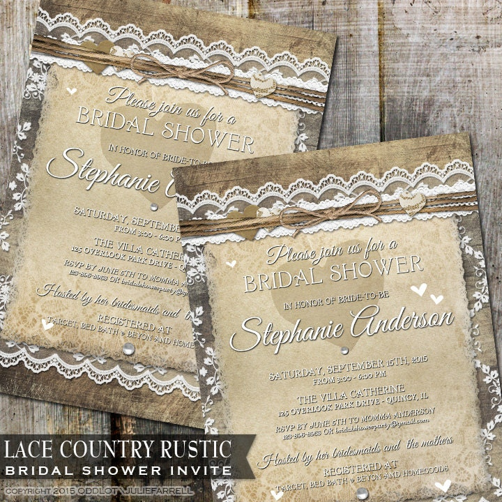 Rustic Bridal Shower Invitation Country Wedding Shower