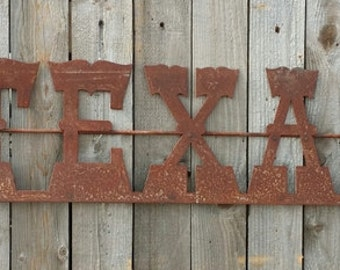 Rustic Metal Texas with Stars Sign FREE SHIPPING