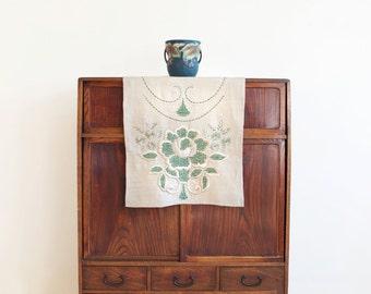 Vintage Hand Embroidered Linen Table/ Dresser Runner