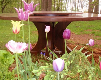 "Tulips & 72"" Walnut Pedestal Table with Lazy Susan"