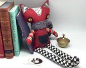 Handmade Stuffed Cat toy with a crocheted scarf, Soft fabric designers Cat, shelf sitter cotton fabric toy, soft toy gift