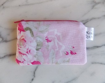Rose Pink Coin Purse, Zpper Pouch, Mini Change Holder, Rose, Flowers, Floral, Pink, Green, White, Handmade