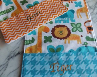 Baby Burp Cloth with Pocket - Set of 2 - Flannel, Terry Cloth - Blue. Orange - Zoo Animals