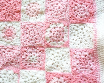 Pink Crochet Baby Blanket- Made To Order- Pink, White-  Hand Crocheted Afghan- Nursery, Bedding- Baby Girl- Baby Shower GIft
