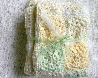 Yellow Crochet Baby Blanket- Made To Order- Crocheted Granny Square Afghan- Yellow, Light Green, Cream, White- Nursery Decor