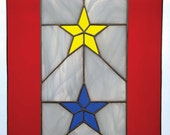 BLUE and GOLD STAR service flag - stained glass