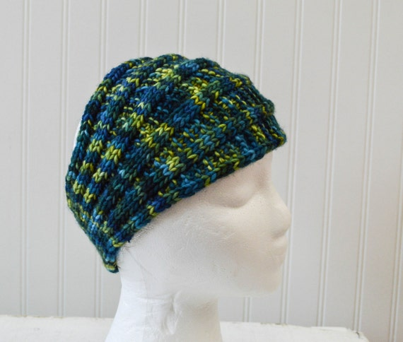 Ribbed Headband Knitting Pattern : Knitted Head Wrap Ribbed Headband Multi color Blue and