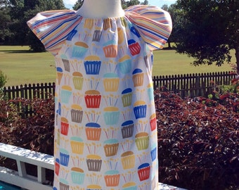 BIRTHDAY CUPCAKES PHOEBE...  Flutter sleeved dress in Michael Miller cupcakes & stripes!