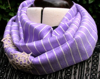 Infinity loop skinny scarf in lilac stripe slub silk and vintage lace. Elegant womens upcycled cowl neckwarmer is a unique gift idea