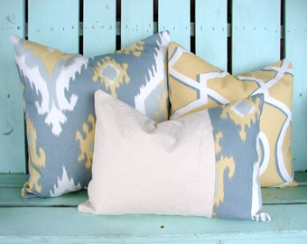 Set of 3 yellow, grey Ikat  Premier print- decorative pillow cover-accent pillow-gifts under 40-throw pillow