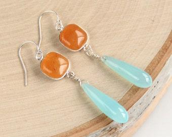 Carnelian & Aqua Chalcedony Earrings, Orange, Blue, Sky, Gemstone Earrings