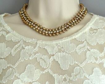 Beaded Choker Necklace Beaded Rhinestone Choker Gold Beaded Choker Rhinestone Beaded Necklace Rhinestone Collar Beaded Collar Necklace