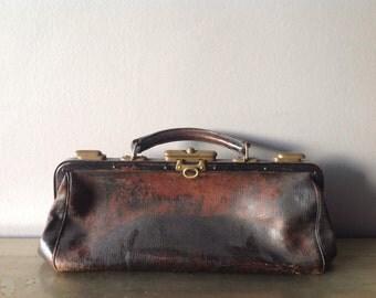 Vintage Leather Doctor's Bag, Antique, France, Satchel