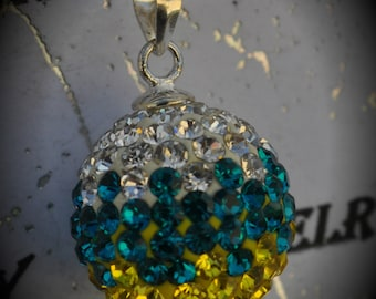 SALE Genuine Swarovski Crystal Pave Pendant with Solid Sterling Silver Bail - Clear Blue Zircon Citrine