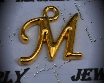 Letter M Gold Plated Charm