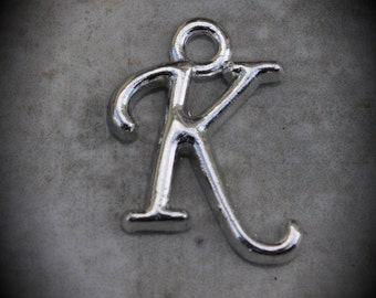 Letter K Silver Plated Charm