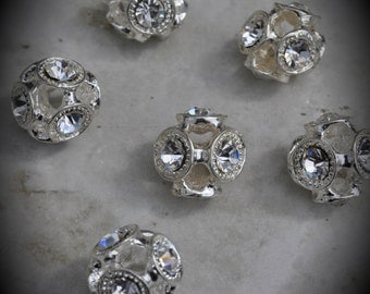Metal Silver Plated Rhinestone Ball Beads - 15mm