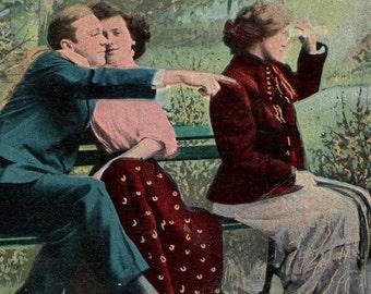 Humorous ANTIQUE Romantic Couple RPPC Postcard 1909 American Comics Series GOOD Condition
