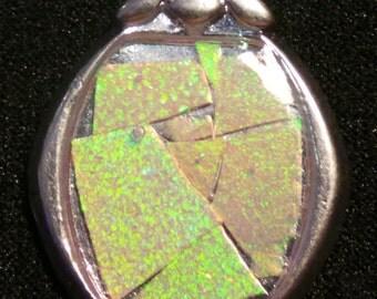 Lab Created Pink Opal Mosaic Pendant