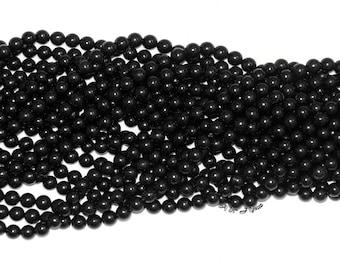 "Jet (Lignite) 8mm Round Gemstone Beads - 15.5"" Strand"