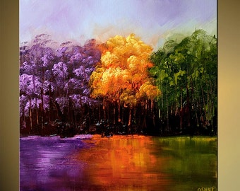 """Colorful Blooming Trees Modern Landscape Abstract Painting Green, Purple, Lavender by Osnat - MADE-TO-ORDER - 40""""x40"""""""