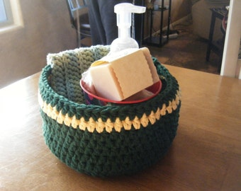 Small Crocheted Basket With Cotton Yarn