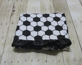 Minky and Coton Baby Blanket, Personalized baby blanket, Soccer blanket