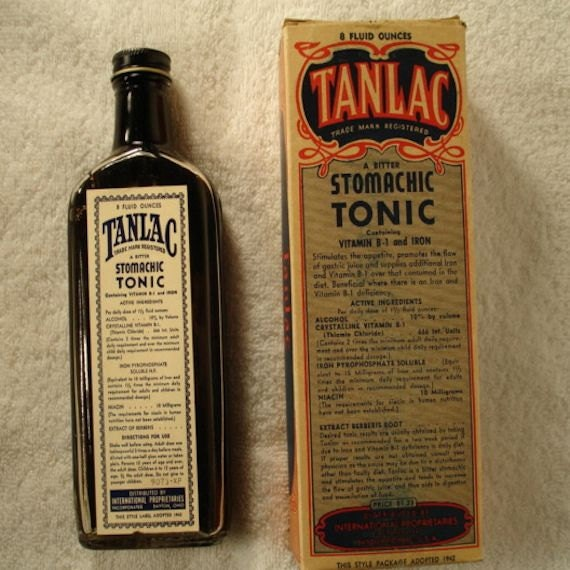 vintage 1942 tanlac stomachic tonic medicine bottle with