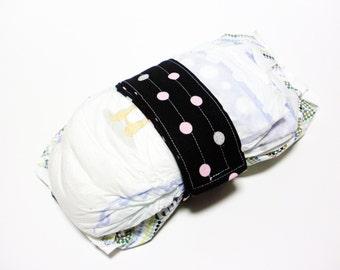 Dots Diaper Strap - Silver Light Pink Dots on Black
