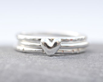 Sterling Silver Tiny Heart Stacking Rings Set Of 3 Ready to Ship