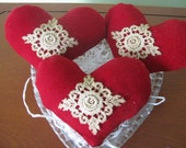 Hearts, Velveteen, Appliqued, stained, Valentine's Day, Bowl fillers