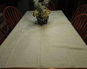 Vintage White and Pink Damask Lunchen Dining Tablecloth for housewares and home decor, very shabby chic by MarlenesAttic