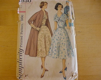 Vintage 1960s, Simplicity Pattern 1930, Misses 1 Piece Dress and Swingy Coat Ensemble, Size 14, Bust 34