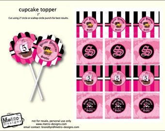 Pink Pirate Party - Favor Tags or Cupcake Toppers