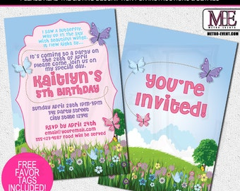 Butterfly Birthday Invitations, Butterfly Party Invitations, Custom Party Invitations