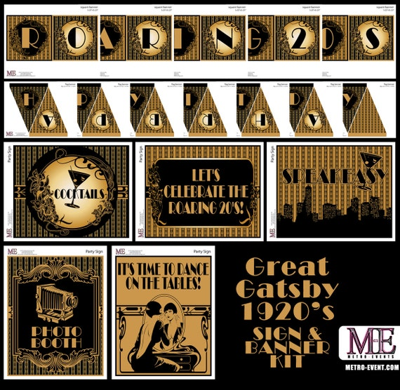 1920 S Party Gatsby Banners Art Deco Signs Flapper