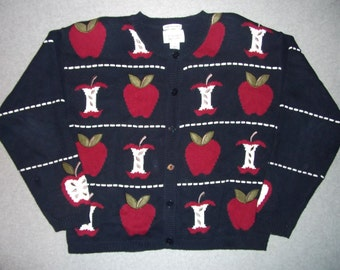 Hard Core Bad Teacher Sweater First Day of School Red Apple for Teach Ugly Christmas Party Tacky Gaudy X-Mas Winter Warm Holiday M Medium