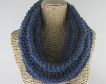 Hand Knit Steel Blue Mobius Cowl - Soft Wool Blend Infinity Cowl  - Chunky Yarn ~ Warm Scarf