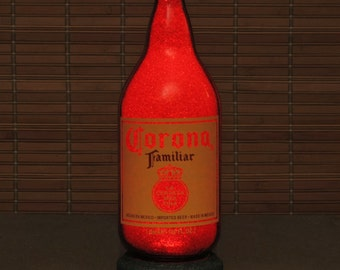 Corona Familiar 1 Quart Beer Lighted Bottle Lamp Cerveza Night Light Bar Man Cave Ruby Red Glow Mexico
