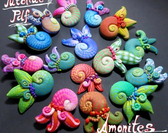 Amonites, Organic style polymer clay tutorial