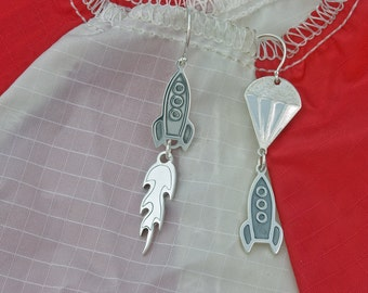 rocket earrings ascent descent sterling silver