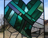 Stained Glass Patchwork Heart Panel in Greens